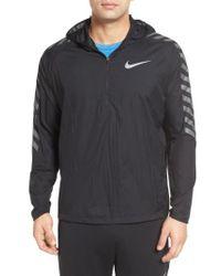 Nike | Black Hooded Running Jacket for Men | Lyst