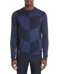 Armani | Blue Armani Collezioni Chevron Colorblock Sweater for Men | Lyst