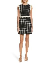 RED Valentino - Black Cavalry Ruffle Trim Wool Dress - Lyst