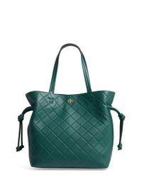Tory Burch - Green Georgia Slouchy Quilted Leather Tote - Lyst
