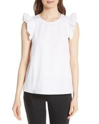 Kate Spade - White Ruffled Cotton Top - Lyst