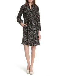 Rebecca Taylor - Black Floral Vine Silk Shirtdress - Lyst