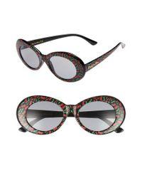 Circus by Sam Edelman - Black 70mm Cherry Print Oval Sunglasses - Lyst