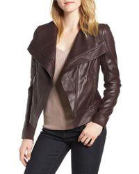 Trouvé - Brown Drape Front Leather Jacket - Lyst