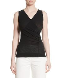 Fuzzi - Black Ruched Tulle Tank - Lyst