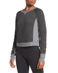 Zella   Gray Bella Quilted Crop Pullover   Lyst