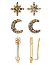 BaubleBar | Metallic 3-pack Crystal Earrings | Lyst