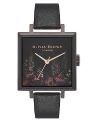 Olivia Burton - Black Oliva Burton After Dark Floral Big Square Leather Strap Watch - Lyst
