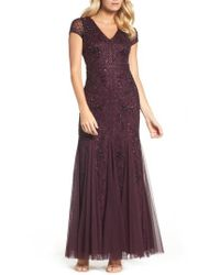 Adrianna Papell | Purple Grid Floral Beaded Mesh Gown | Lyst