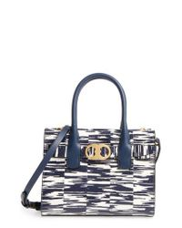 Tory Burch - Blue Small Gemini Link Space Dye Genuine Snakeskin Tote - Lyst