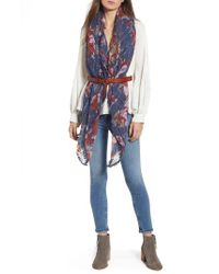 Treasure & Bond - Blue Floral Fringe Scarf - Lyst