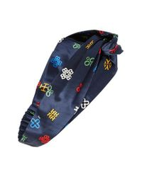 Tory Burch - Blue Alphabet Print Silk Headband - Lyst