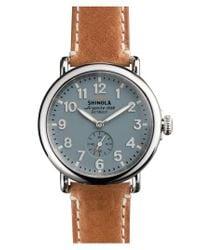 Shinola - Metallic 'the Runwell' Leather Strap Watch for Men - Lyst