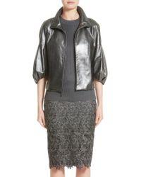 St. John | Gray Pearlized Nappa Leather Jacket | Lyst