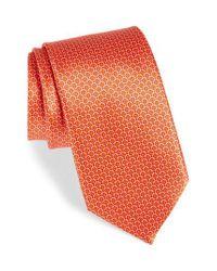 Canali - Orange Medallion Silk Tie for Men - Lyst