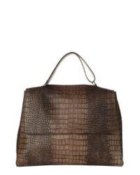 Orciani - Brown Large Sveva Croc Embossed Calfskin Leather Convertible Satchel - Lyst