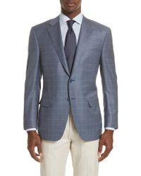 Canali Blue Classic Fit Windowpane Wool Sport Coat for men