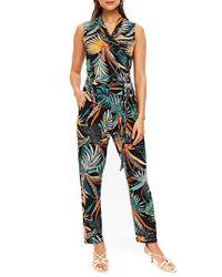 Wallis - Black Palm Print Jumpsuit - Lyst