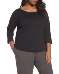 Eileen Fisher - Black Organic Cotton Ballet Neck Top - Lyst