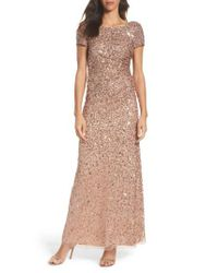 Adrianna Papell | Multicolor Sequin Cowl Back Gown | Lyst