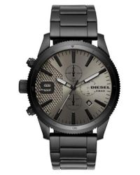 DIESEL - Black Diesel Rasp Chronograph Bracelet Watch for Men - Lyst