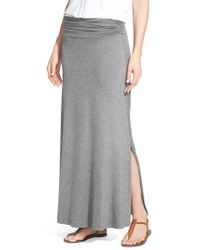 Bobeau - Gray Ruched Waist Side Slit Maxi Skirt - Lyst