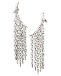 Oscar de la Renta | Metallic Tendril Crystal Earrings | Lyst