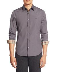 Burberry - Gray Cambridge Aboyd Stretch-Cotton Sport Shirt for Men - Lyst
