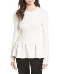 Ted Baker   Natural Mereda Cable Knit Peplum Sweater   Lyst