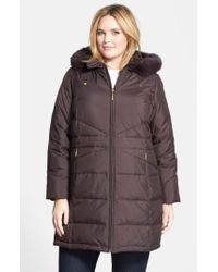 Ellen Tracy - Black Genuine Fox Fur Trim Hooded Down Walking Coat - Lyst