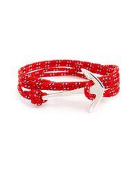 Miansai | Red Silver Anchor Rope Wrap Bracelet for Men | Lyst