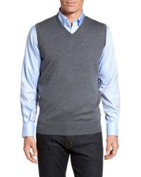 Peter Millar | Gray Crown Merino Blend Knit Vest for Men | Lyst