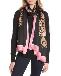 Kate Spade | Black Classic Cheetah Oblong Silk Scarf | Lyst