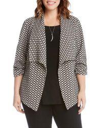 Karen Kane   Black Ruched Sleeve Jacquard Jacket   Lyst