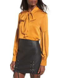 Lost + Wander | Yellow Lost + Wander Lala Satin Bow Top | Lyst