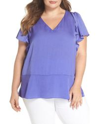 MICHAEL Michael Kors - Blue Double Ruffle Hammered Satin Top - Lyst