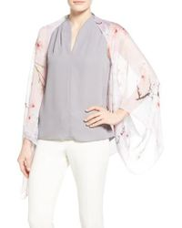 Ted Baker   Gray Floral Print Silk Cape Scarf   Lyst