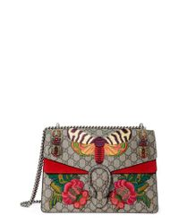 305069782a3 Lyst - Gucci Medium Dionysus Embroidered Gg Supreme Canvas   Suede ...