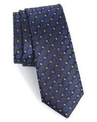 Calibrate - Black Modern Medallion Silk Skinny Tie for Men - Lyst