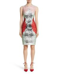Yigal Azrouël - Gray Coral Print Scuba Sheath Dress - Lyst