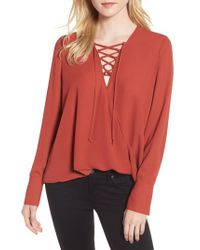 Trouvé - Red Lace-up Top - Lyst