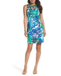Adrianna Papell | Blue Sheath Dress | Lyst