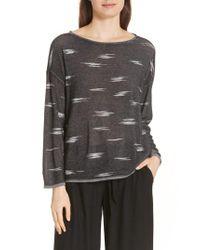 Eileen Fisher - Gray Bateau Neck Sweater - Lyst