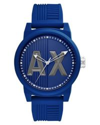 Armani Exchange - Blue Atlc Logo Silicone Strap Watch for Men - Lyst