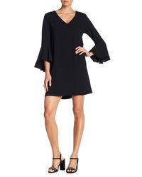 Fifteen Twenty - Black Bell Sleeve Dress - Lyst