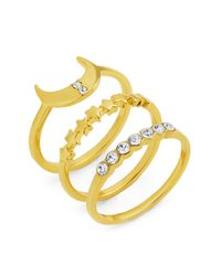 BaubleBar - Metallic Luna Glass Stone Accent Stackable 3-piece Ring Set - Size 7 - Lyst