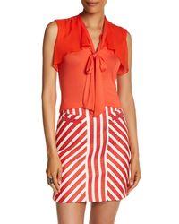 Karen Millen - Red Frill Jersey Blouse - Lyst