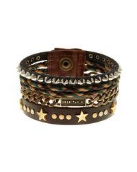 DIESEL - Brown Arivla Leather Bracelet - Lyst