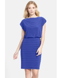 Adrianna Papell - Blue Pleated Jersey Blouson Dress - Lyst
