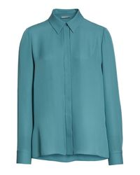 Vince | Blue Silk Blouse | Lyst